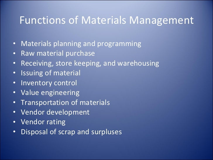materials management Materials management services is responsible for a number of critical campus  functions the department works to ensure that: surplus items are collected and.