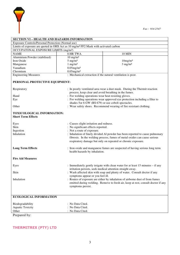 Material Safety Data Sheet Al Powder