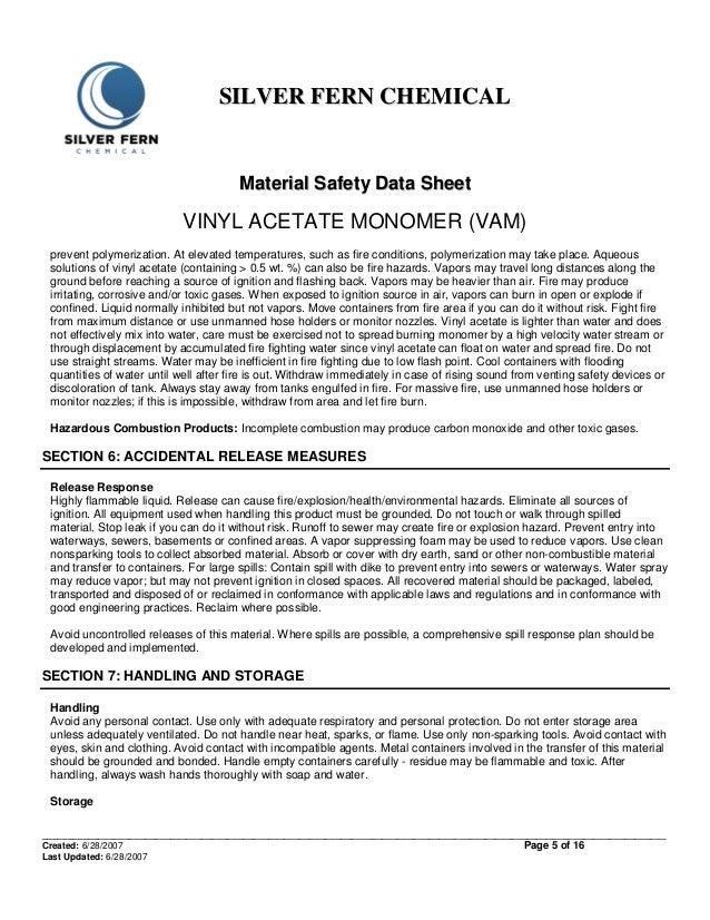 Material Safety Data Sheet Of Vinyl Acetate Monomer