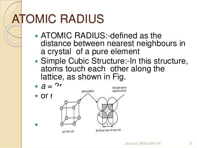 ATOMIC RADIUS  ATOMIC RADIUS: Defined ...