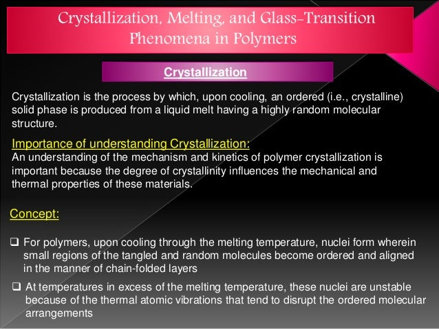 Crystallization,Melting and Tg of different polymeric materials
