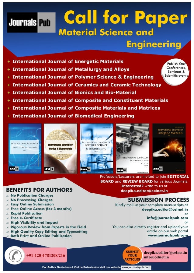 Material Science and Engineering: Call for Paper
