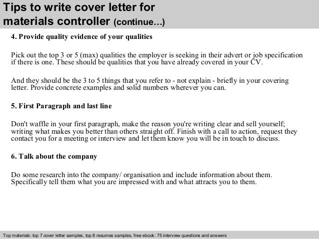 Materials controller cover letter