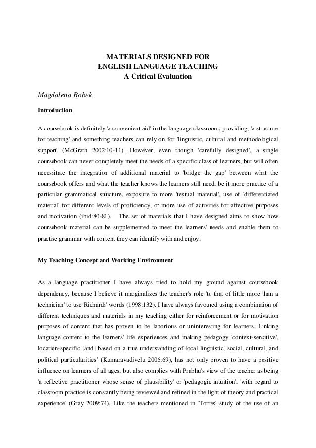 MATERIALS DESIGNED FOR                        ENGLISH LANGUAGE TEACHING                              A Critical Evaluation...