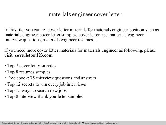 Materials Engineer Cover Letter