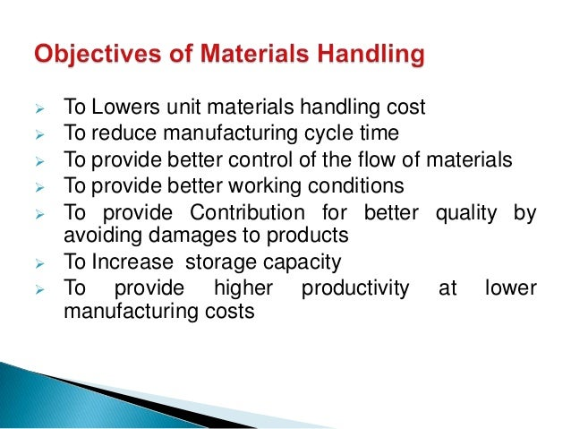 objectives of material handling equipment