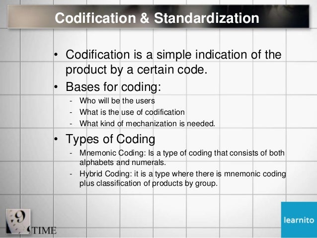 types of codification in material management