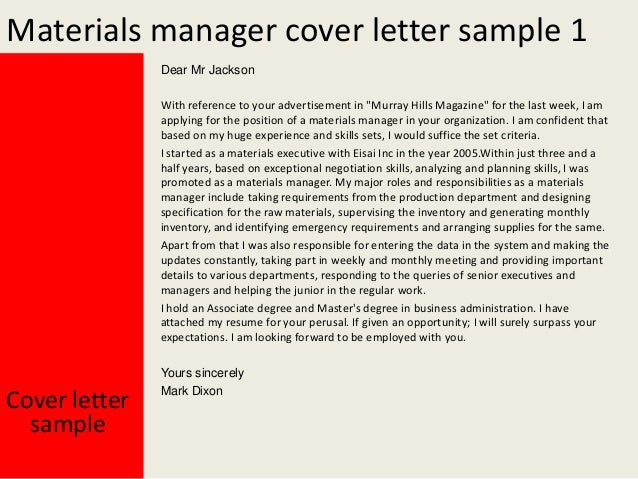 Materials manager cover letter for Applying for management position cover letter