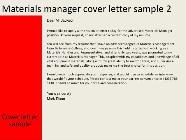 materials manager cover letter materials manager