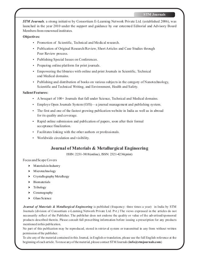 Journal of Materials and Metallurgical Engineering vol 6 issue 3