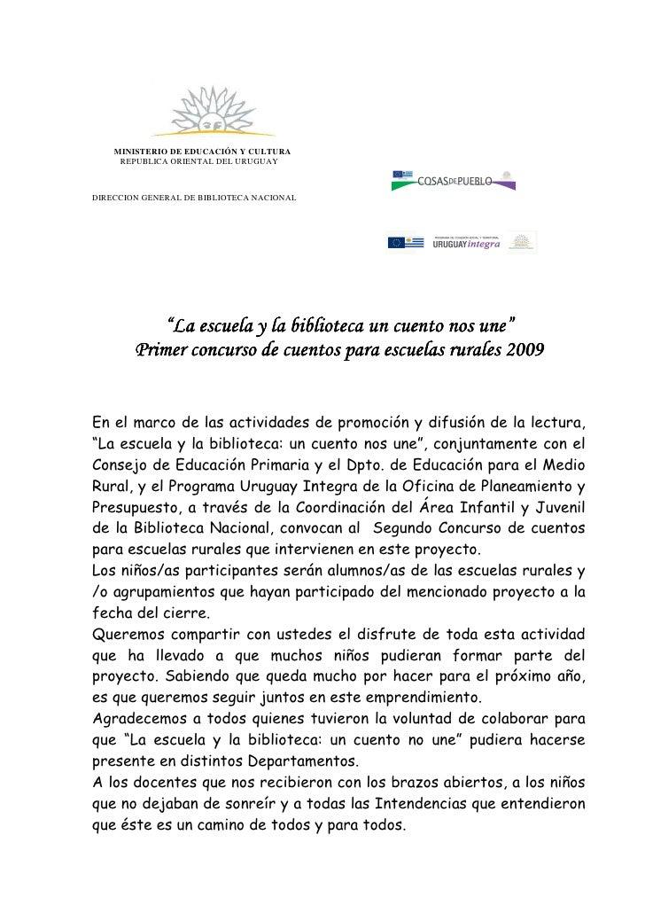 MINISTERIO DE EDUCACIÓN Y CULTURA      REPUBLICA ORIENTAL DEL URUGUAY    DIRECCION GENERAL DE BIBLIOTECA NACIONAL         ...