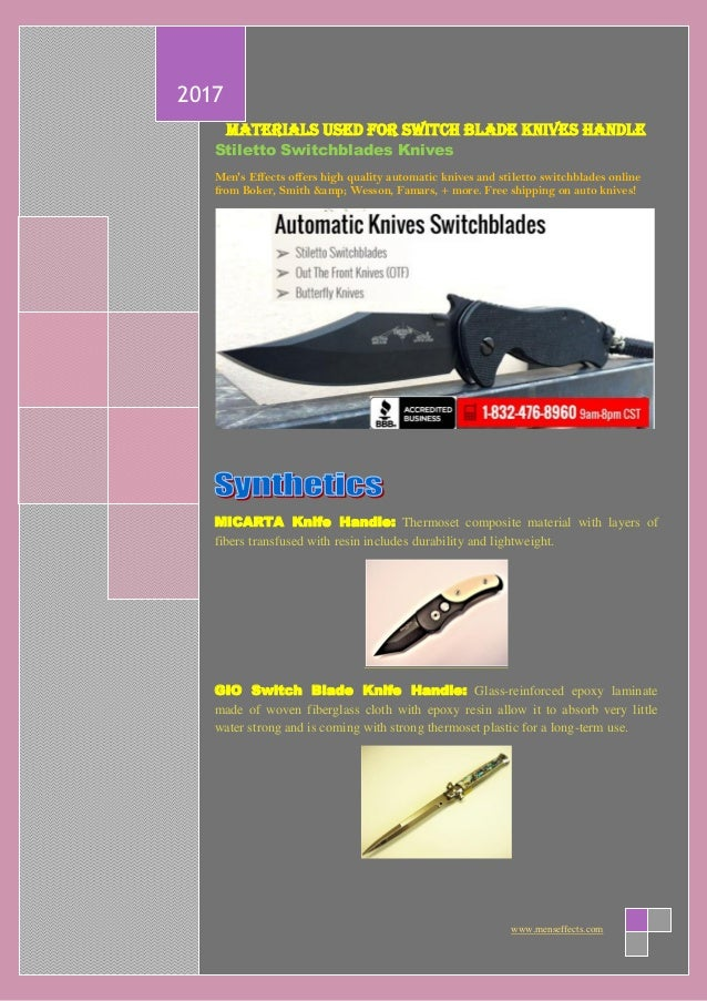 Materials used for switch blade knives handle