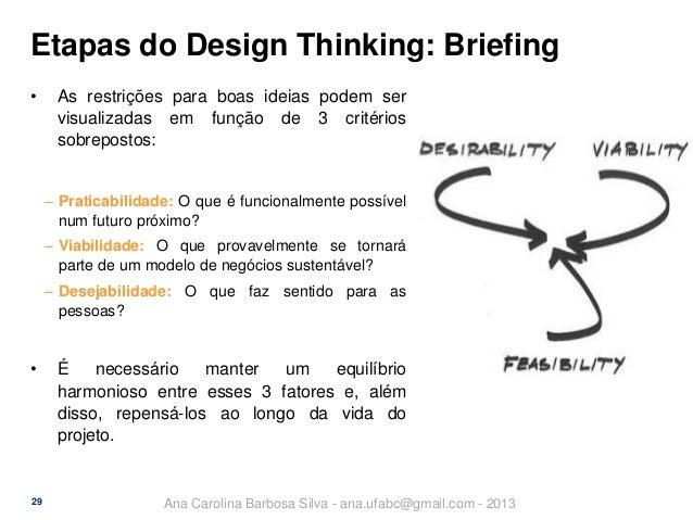 Etapas do Design Thinking: Briefing •  As restrições para boas ideias podem ser visualizadas em função de 3 critérios sobr...