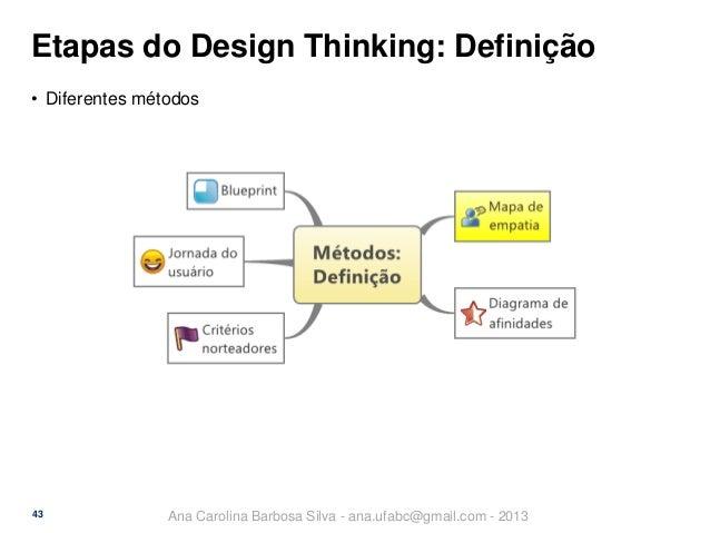 Etapas do Design Thinking: Definição • Diferentes métodos  43  Ana Carolina Barbosa Silva - ana.ufabc@gmail.com - 2013