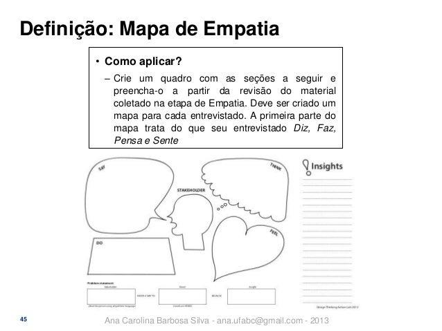 Definição: Mapa de Empatia • Como aplicar? ‒ Crie um quadro com as seções a seguir e preencha-o a partir da revisão do mat...