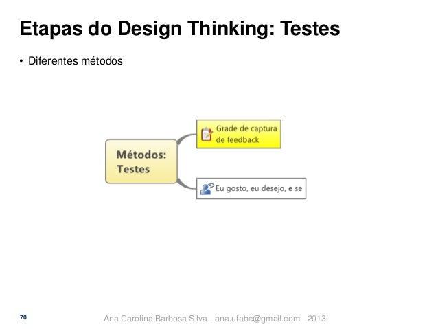 Etapas do Design Thinking: Testes • Diferentes métodos  70  Ana Carolina Barbosa Silva - ana.ufabc@gmail.com - 2013