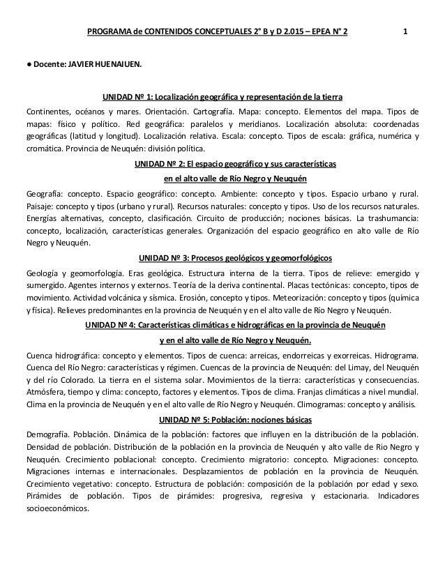 PROGRAMA de CONTENIDOS CONCEPTUALES 2° B y D 2.015 – EPEA N° 2 1 ● Docente: JAVIER HUENAIUEN. UNIDAD Nº 1: Localización ge...