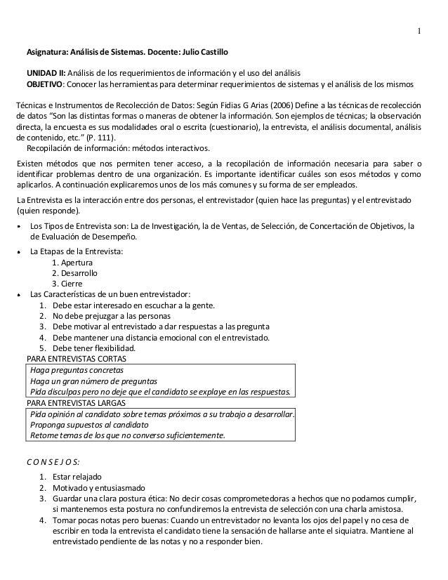 1   Asignatura: Análisis de Sistemas. Docente: Julio Castillo   UNIDAD II: Análisis de los requerimientos de información y...