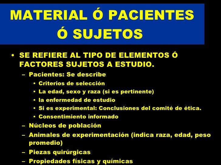 REDACCION DE UN ARTICULO CIENTIFICO:  MATERIAL Y METODOS Slide 3