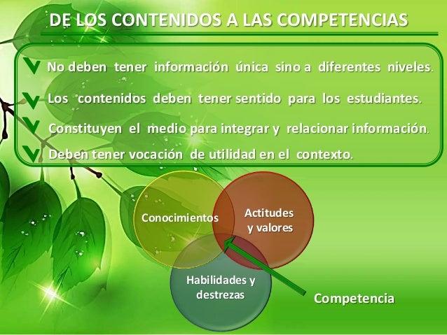 DE LOS CONTENIDOS A LAS COMPETENCIAS Los contenidos deben tener sentido para los estudiantes. Constituyen el medio para in...