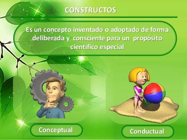 CONSTRUCTOS Es un concepto inventado o adoptado de forma deliberada y consciente para un propósito científico especial Con...