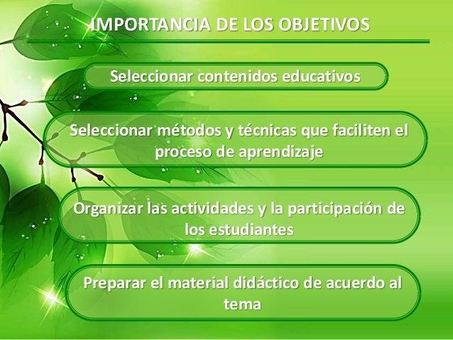 IMPORTANCIA DE LOS OBJETIVOS Seleccionar contenidos educativos Seleccionar métodos y técnicas que faciliten el proceso de ...