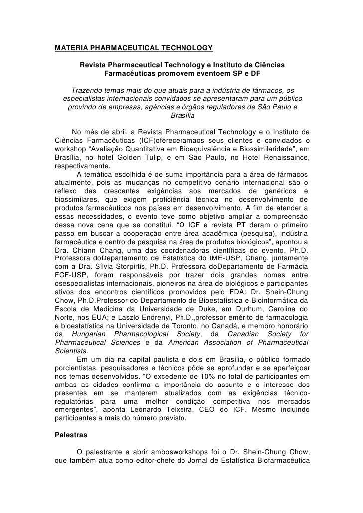 MATERIA PHARMACEUTICAL TECHNOLOGY       Revista Pharmaceutical Technology e Instituto de Ciências              Farmacêutic...