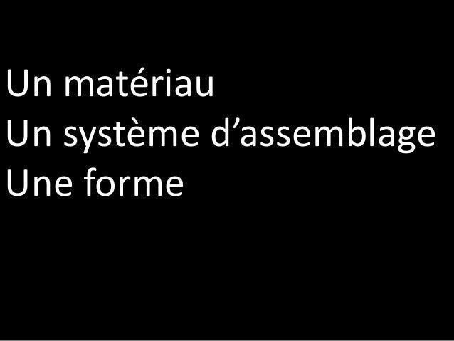 Un matériau Un système d'assemblage Une forme