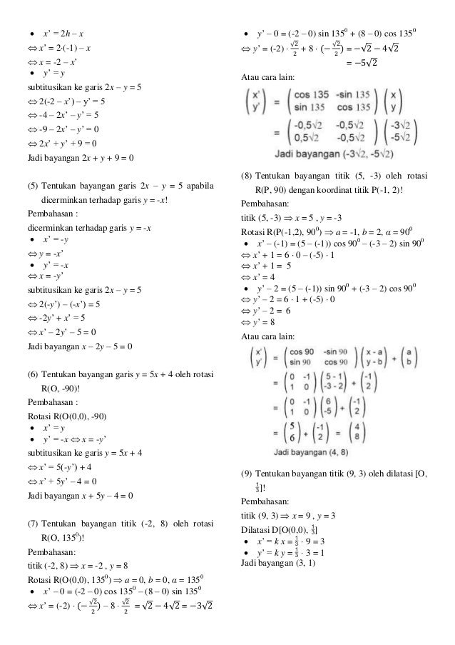 Contoh Soal Dan Pembahasan Rotasi Matematika