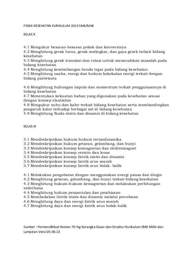 Materi Fisika Kesehatan Kurikulum 2013 Smk Kelas X Dan Xi Pristiadi