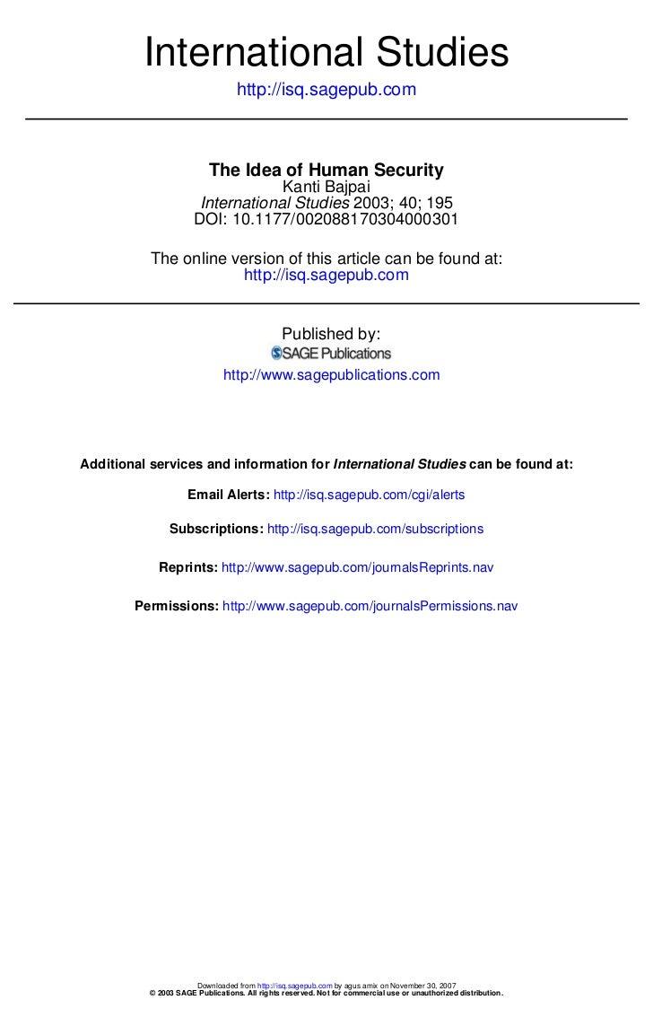 International Studies                                   http://isq.sagepub.com                           The Idea of Human...