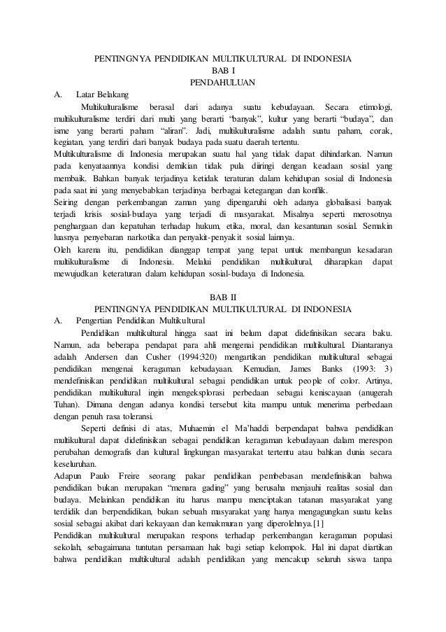 Materi Kelompok 5 Pentingnya Pendidikan Multikultural Di Indonesia