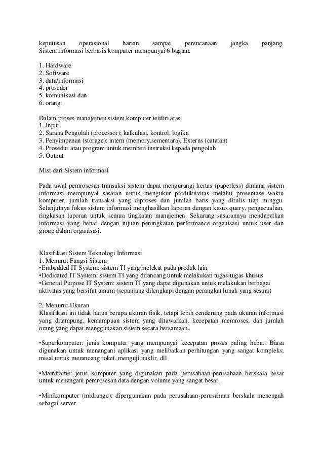 Materi Sistem Informasi Manajemen Definisi Klasifikasi Ciri dll