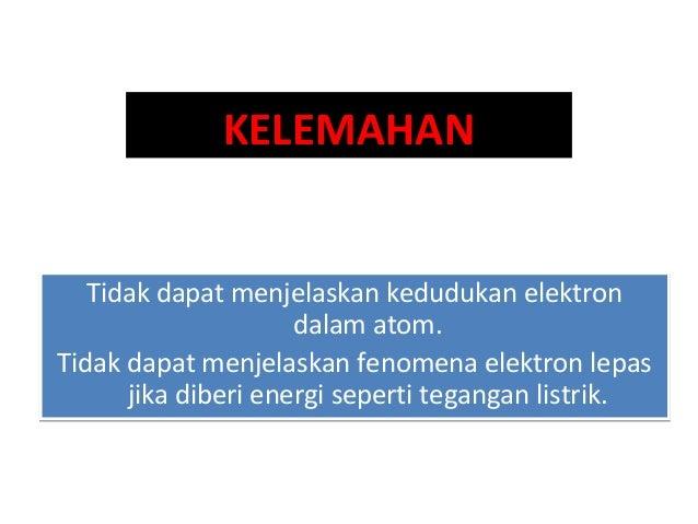Ernest Rutherford (1871 – 1937) - - - 1. Atom terdiri atas inti atom yang bermuatan listrik positif, dimana masa atom hamp...