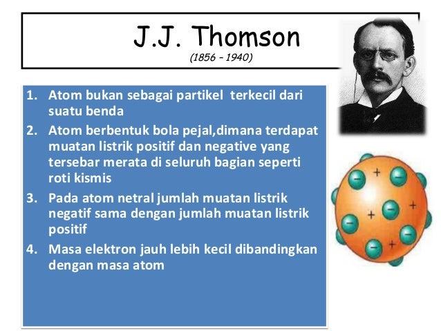 J.J. Thomson (1856 – 1940) 1. Atom bukan sebagai partikel terkecil dari suatu benda 2. Atom berbentuk bola pejal,dimana te...