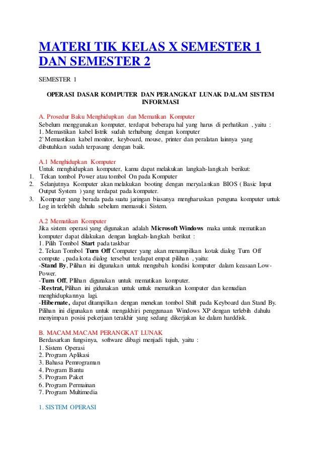 Materi Tik Kelas X Semester 1 Dan Semester 2 Bahan Untuk Rpp