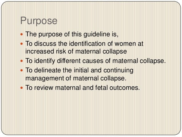 guideline no.56 maternal collapse in pregnancy and the puerperium