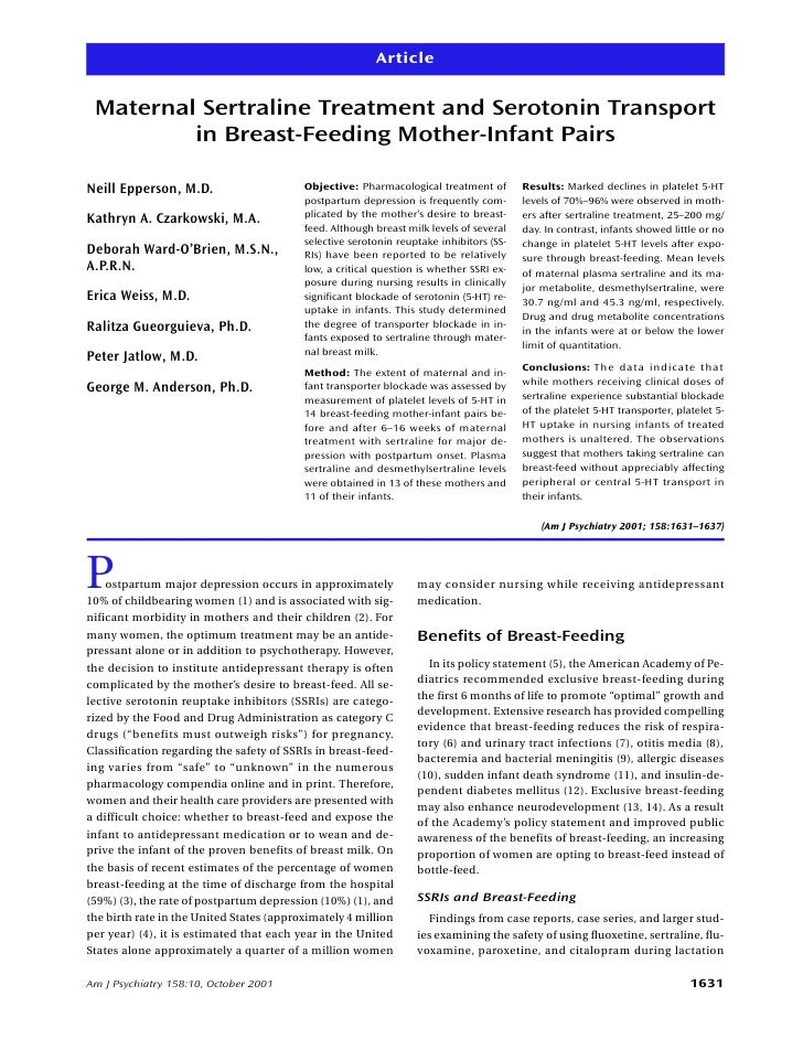 Article    Maternal Sertraline Treatment and Serotonin Transport          in Breast-Feeding Mother-Infant Pairs  Neill Epp...