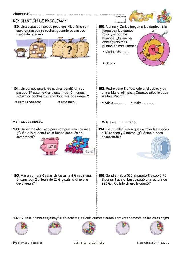 Matemáticas de 3º Primaria. Problemas y ejercicios