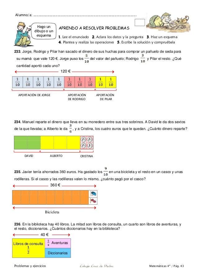 Matemáticas de 4º de Primaria. Problemas y ejercicios.
