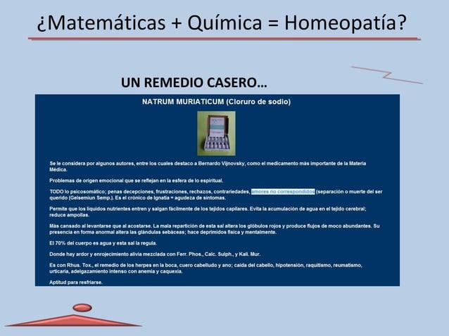 ¿Matemáticas + Química = Homeopatía? UN REMEDIO CASERO…