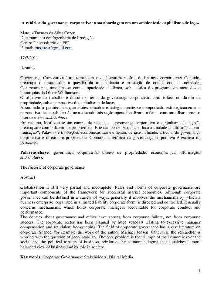 A retórica da governança corporativa: uma abordagem em um ambiente de capitalismo de laçosMateus Tavares da Silva CozerDep...