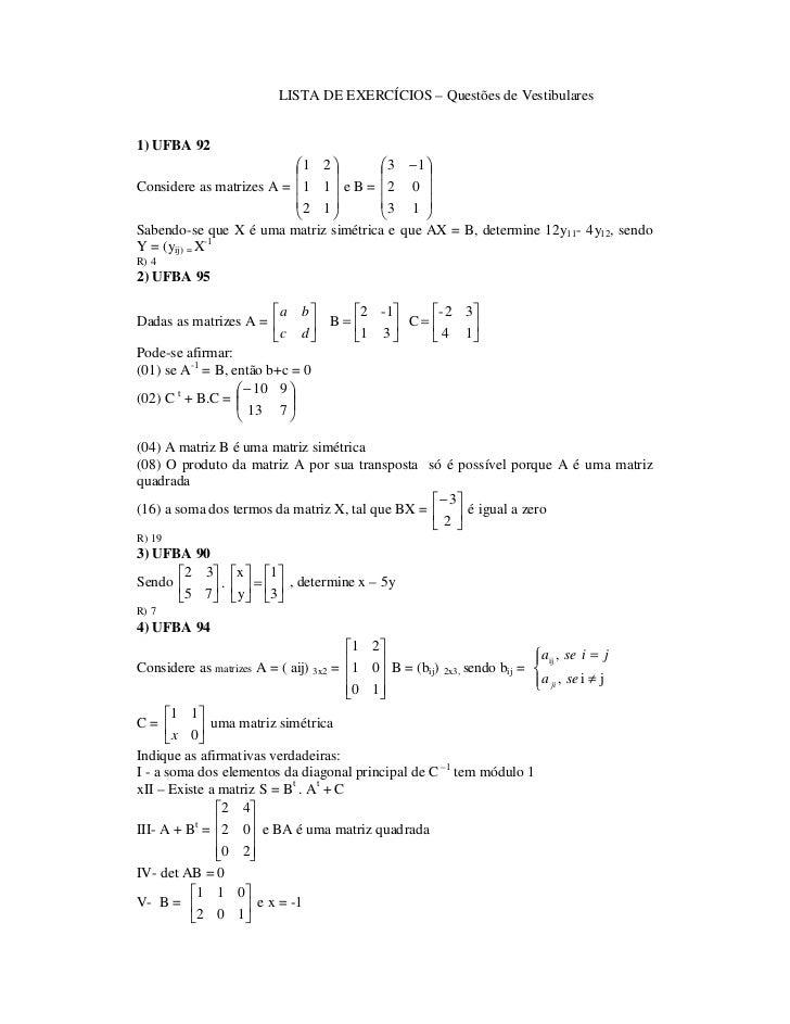 LISTA DE EXERCÍCIOS – Questões de Vestibulares1) UFBA 92                          1 2          3 − 1                  ...