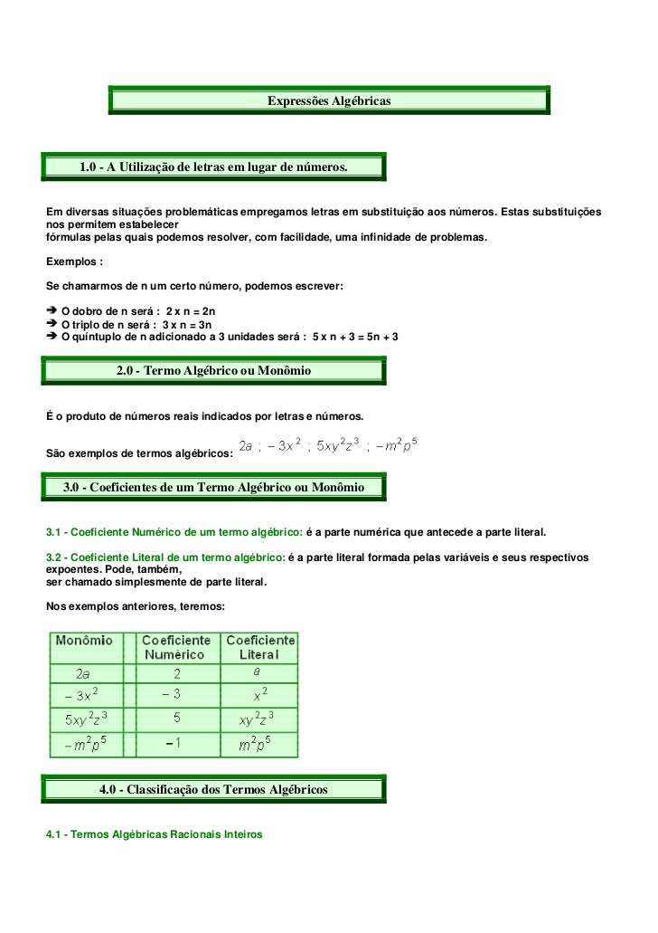 Expressões Algébricas      1.0 - A Utilização de letras em lugar de números.Em diversas situações problemáticas empregamos...