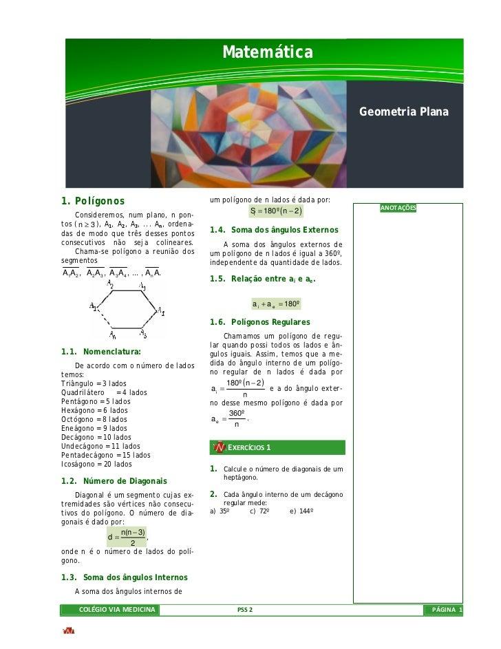 Matemática                                                                                         Geometria Plana1. Políg...