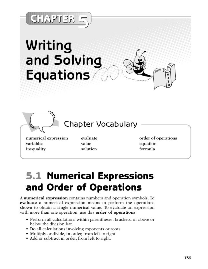 CHAPTER                              5  Writing  and Solving  Equations                                                   ...