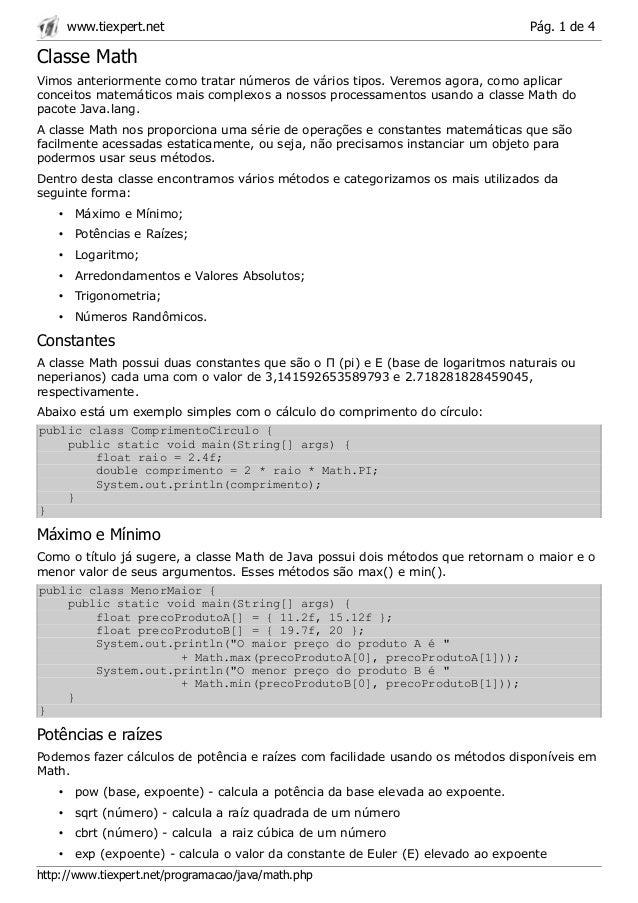 www.tiexpert.net                                                            Pág. 1 de 4Classe MathVimos anteriormente como...