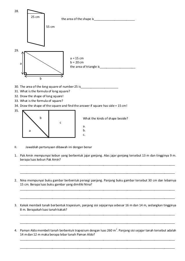 Soal Matematika Bangun Datar SD Kelas 5