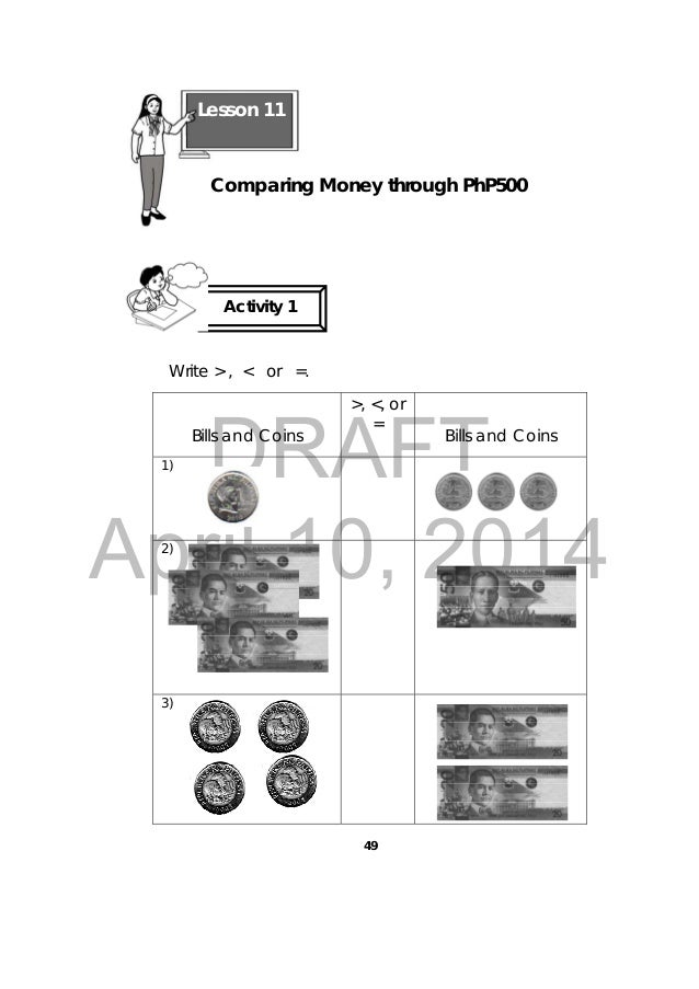 Philippine coins and bills worksheets for grade 2 / Coin
