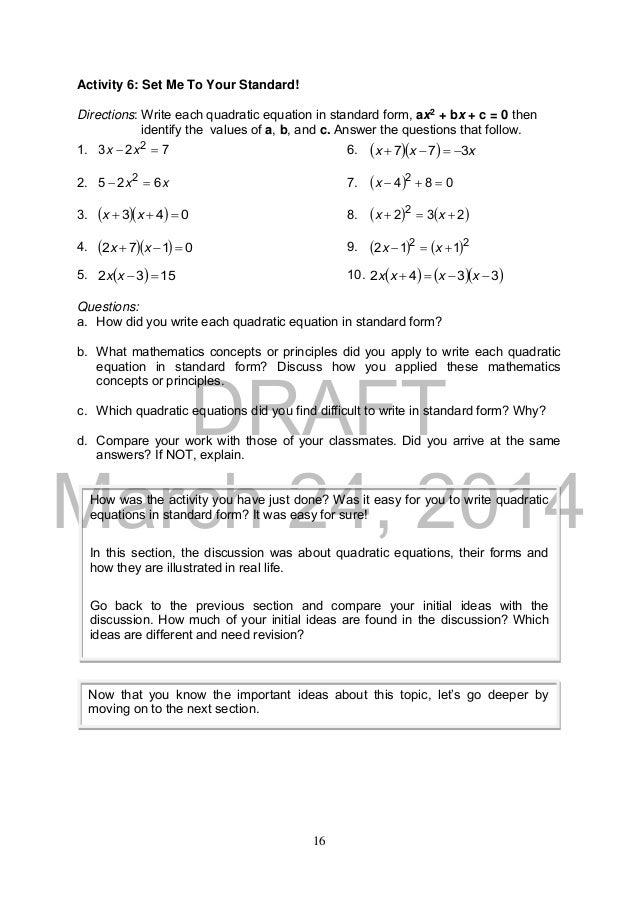 K TO 12 GRADE 9 LEARNERS MATERIAL IN MATHEMATICS – The Quadratic Formula and the Discriminant Worksheet